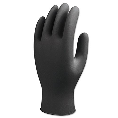SHOWA 7700PFTXL N-Dex Nighthawk Nitrile Gloves, Rolled Cuff, X-Large, Black - Pack of 50