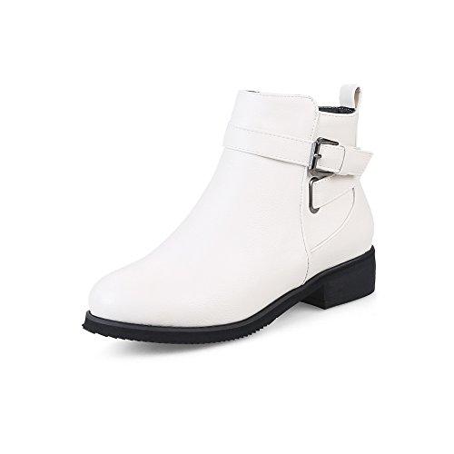 BalaMasa Womens Fashion Slip-Resistant Buckle Urethane Boots ABL10273 White