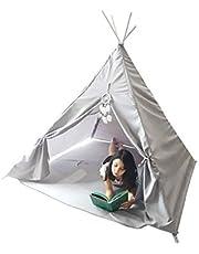 Teepee Casita gris (Con tapete) Tipi infantil para niñas y niños color gris con atrapasueños y tapete.