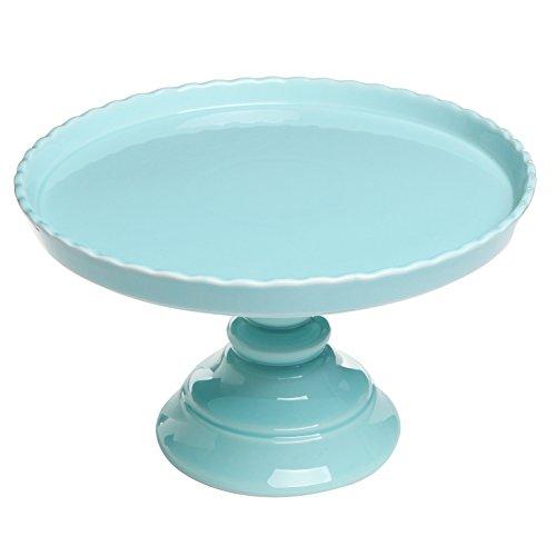 Amazon.com 11.5\  Round Blue Scalloped Rim Ceramic Cake \u0026 Dessert Pedestal Display Stand - MyGift Kitchen \u0026 Dining  sc 1 st  Amazon.com & Amazon.com: 11.5\