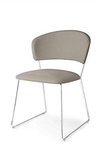 Connubia Atlantis Chair - Metal Stained Chromed Frame - Ekos Taupe Seat