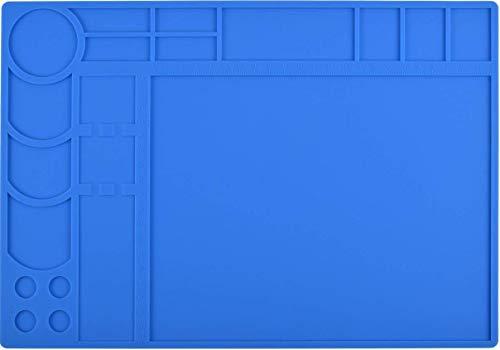 Soldering Mat Large Silicone Pad Heat Resistant 932°F Work Mat Project Mat Workbench Board Welding Blanket Electronics Mat for Heat Gun Soldering Iron Welding Blanket Electronic Repair Kit (13''X 9'') by TECKTOO
