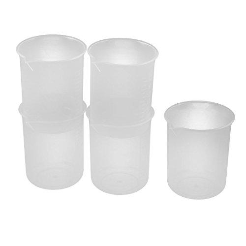 UPC 602451699781, uxcell Plastic 150mL Laboratory Water Liquid Volume Graduated Scale Cup Beaker 5pcs