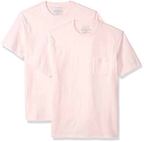 Amazon Essentials Men's 2-Pack Slim-Fit Short-Sleeve Crewneck Pocket T-Shirt, Light Pink, Large