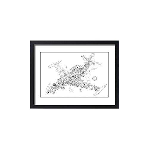 Media Storehouse Framed 24x18 Print of Dassault Falcon 10 Cutaway Drawing (4572234)