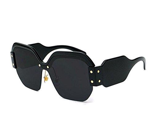 polarizadas de la de vendimia gran de Gafas no de plástico retra la señora cuadradas Marco lente sol Negro tamaño la de nznqIAg