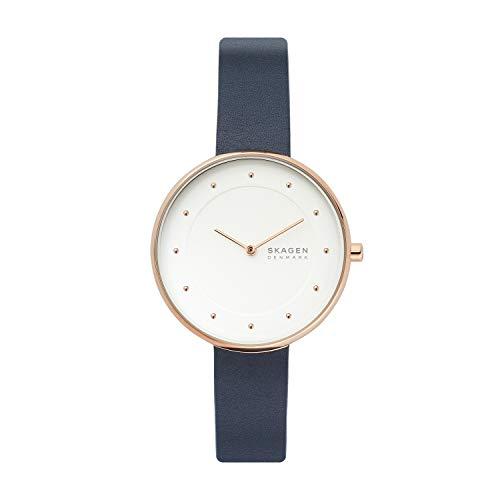 Skagen Women's Gitte Quartz Leather Watch, Color: Blue, 16 (Model: SKW2810)