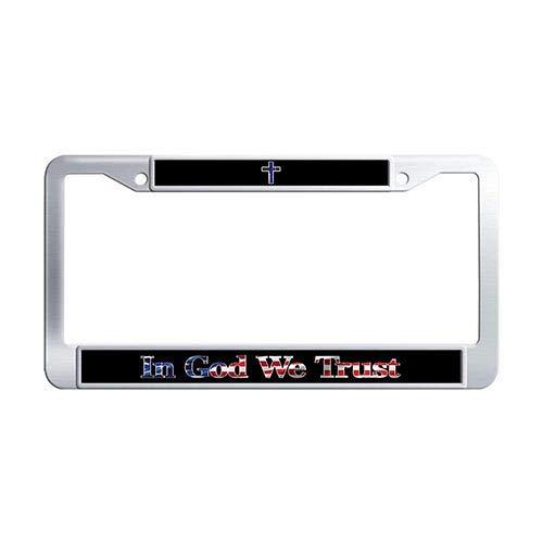 Framespolishisf in God We Trust License Plate Frame Holder Stainless Steel Thin Blue Line Cross USA Flag Auto License Tag Holder ()