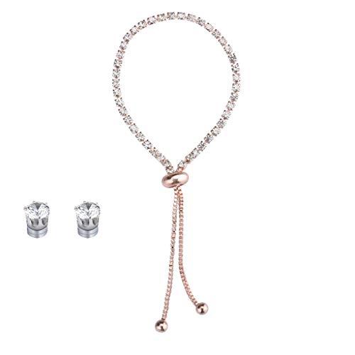 Sunnywill Fashion New Popular Diamond Rhinestone Bracelet Earrings Set Simple Cuffs Stretch Beaded