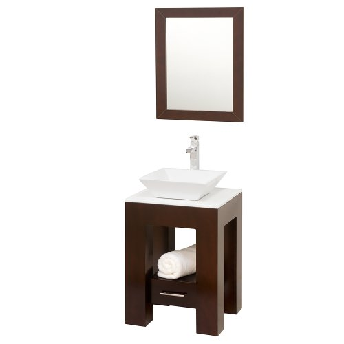 Amanda Vanity - Wyndham Collection Amanda 22 inch Single Bathroom Vanity in Espresso, White Man-Made Stone Countertop, Pyra White Porcelain Sink, and 22 inch Mirror