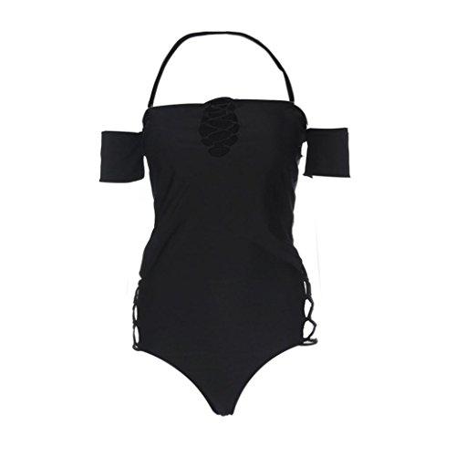 Conjunto de bikini Vovotrade Color sólido fuera del mono de baño de hombro para las mujeres