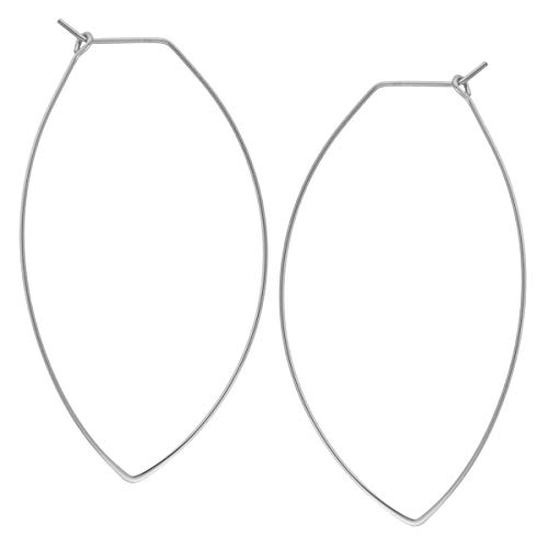 Marquise Threader Big Hoop Earrings - Lightweight Oval Leaf Statement Drop Dangles, 925 White - 2.3 inch, Sterling Silver-Electroplated, Hypoallergenic, by Humble Chic NY