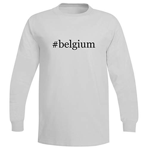 The Town Butler #Belgium - A Soft & Comfortable Hashtag Men's Long Sleeve T-Shirt, White, X-Large