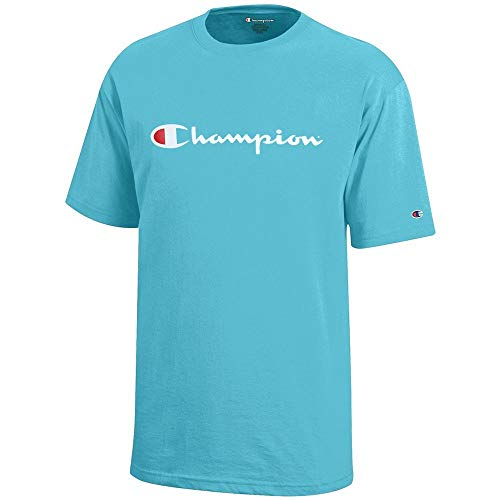 - Champion Script Logo Youth (Turq Waters) Short Sleeve T-Shirt