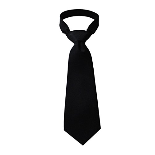 Woven Poly Mens Tie (Pilot Necktie, Uniform Tie, Black Woven Cotton/Poly Blendd, 58