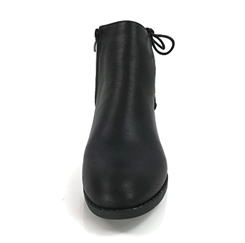 33e6d083f Women s Holly Ankle Bootie Criss Cross Faux Leather Flat Heel Zipper ...