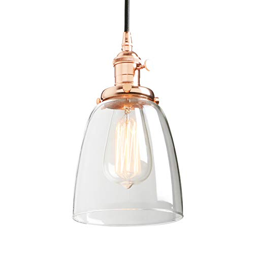 Phansthy 1-Light Industrial Pendant Light with Dome Canopy (Copper)