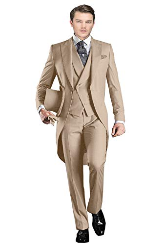 Wemaliyzd Men's Formal 3 Pieces Wedding Swallowtail Suit Double Breasted Vest Trousers(Khaki,36S)