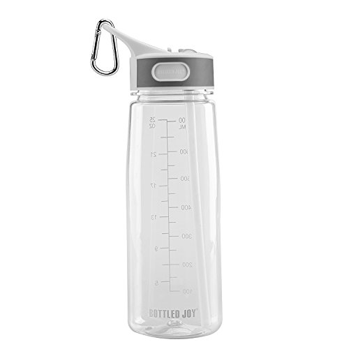 BOTTLED JOY Water Bottle, Reusable Sports Water Bottle with Straw and Handle BPA-Free Leak Proof Drinking Bottle for Travel Outdoor Hiking Camping, 28 oz 800ml (Clear)