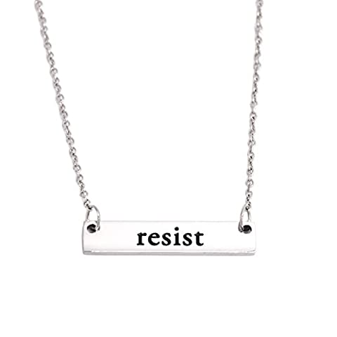 Resist Necklace Rectangle Feminism Trump Resistance Bar Necklaces Stainless Steel - Round Sterling Silver Wire Basket