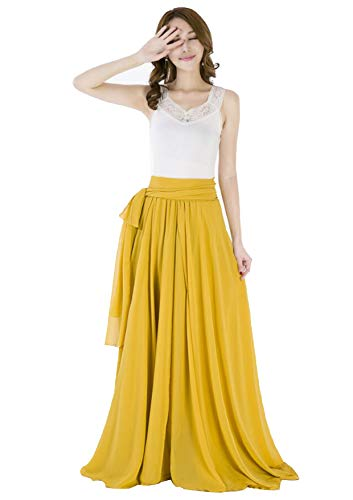 Sinreefsy Summer Chiffon High Waist Pleated Big Hem Floor/Ankle Length Beach Maxi Skirt for Women Wedding Party Long Skirts(X-Large/Mustard Yellow)