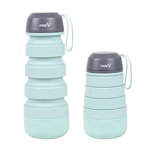 RSV Collapsible Water Bottle Silicon BPA Free, Leak Proof FDA Approved Food-Grade Silicone Portable Travel Water Bottle, Storage Box in Bottle lid for Emergency Pill,18oz (Green) ()