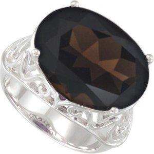 Sterling Silver Filigree Smoky Quartz Ring, Size 11 (55th Wedding Anniversary Symbol)