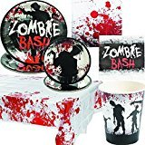 Zombie Bash Party Pack Includes Napkins, Plates, Cups and Table Cover for 16