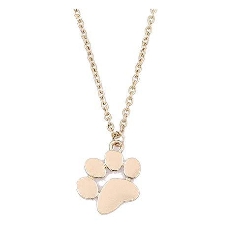 Dainty Pendant Necklace,Haluoo Women Girls Delicate Tiny Dog Paw Pendant Necklace 925 Sterling Silver/Gold Long Sweater Chain Necklace Lovely Dog Paw Charm Necklace Women Jewelry (Gold)