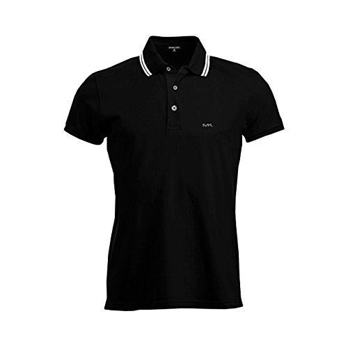 Michael Kors Mens Pima Soft Touch Classic Fit Polo Shirt Short Sleeve Pique (Black/White, Medium) (Kors Micheal Shirts Mens)