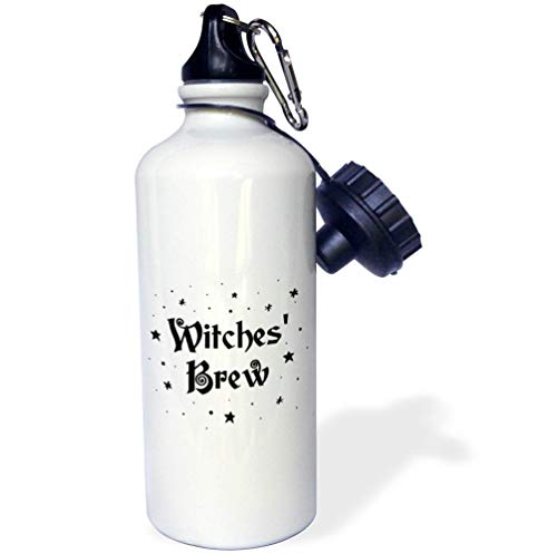 3dRose InspirationzStore - Occasions - Witches Brew - Magical Halloween Witchs Potion Black Text and Stars - Flip Straw 21oz Water Bottle (wb_318141_2)]()