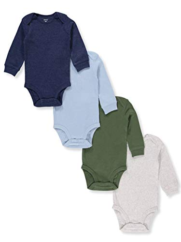 Carter's Baby Boys 4-Pack Long-Sleeve Original Bodysuits Solids (18 - Onesies Long 18 Sleeve Month