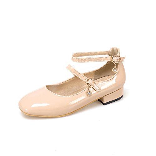 Bas Chaussures Square Peu MEI Talon Bouche Profonde amp;S Toe Femmes Apricot qU7YTX