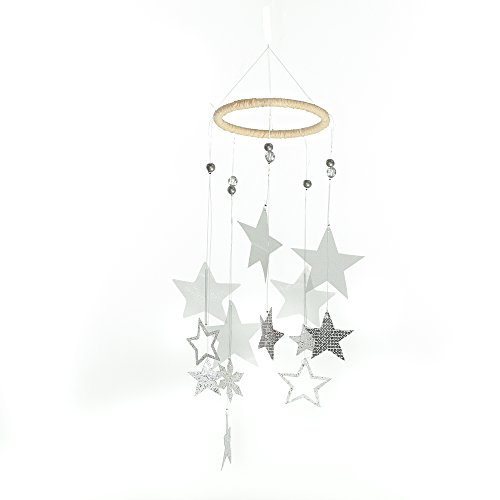 Roser Life Hanging Mobile Art⎮Baby Mobile⎮Sky Mobile⎮Eclectic Decor⎮Handmade Nursery Crib Boy Girl Kids Infant Adult Ceiling Home Outdoor Garden Gray Star Decorations (Pack of 1) ()