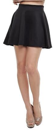 ReachMe Womens Basic Skater Skirt Versatile Stretchy Flared