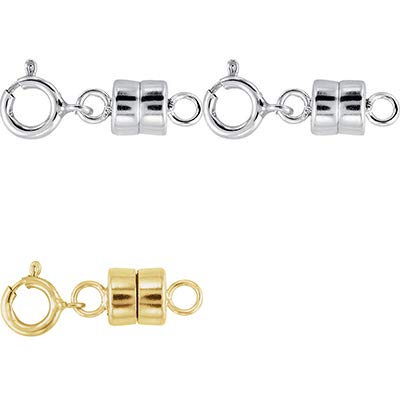 2 - Each New Solid .925 Sterling Silver and 1-14K Yellow Gold Filled Round Magnetic Clasps with Spring Rings for Necklaces, Bracelets, and Anklets - Jewelry By Sweetpea