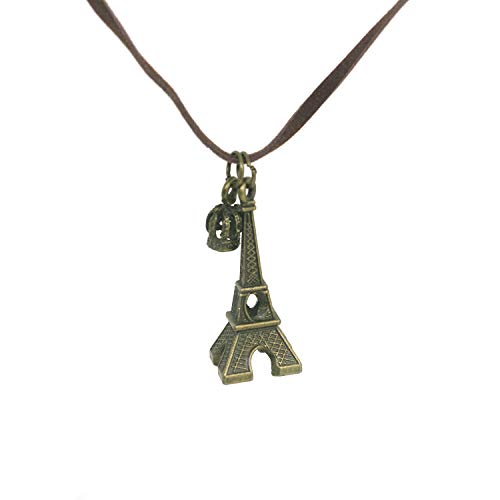 - CHOP MALL Retro Bronze Paris Eiffel Tower Crown Pendant Rope Necklace for Girl/Lady/Women/Valentine's Day/Anniversary Gift