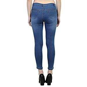 LUXSIS Women Skinny Fit Mid Waist Stretchable Reguler Length Clean Look Solid Plane Denim Lycra Jeans Pant (Pack of One…