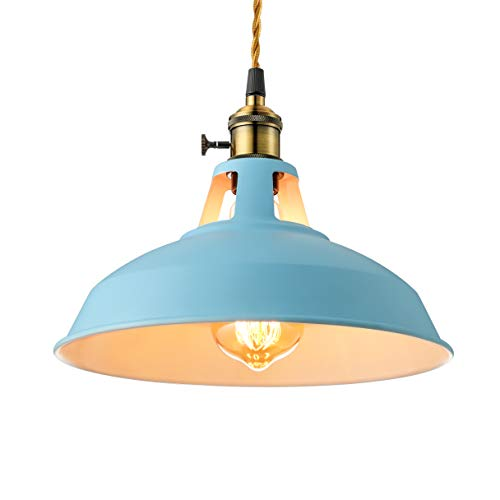 KWOKING Lighting Industrial Chandelier Pendant Light Modern Simple Style Creative Ceiling Lights Character Colour LED Hanging Lamp for Dining Room Bed Cafe Living Room, Blue (Turquoise Lighting)