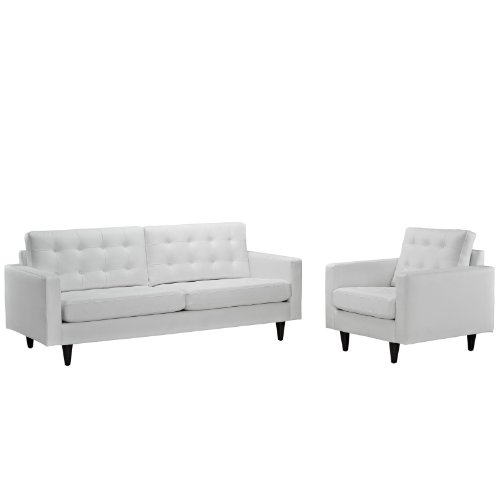 Modern Contemporary Sofa and Armchair Set of Two White
