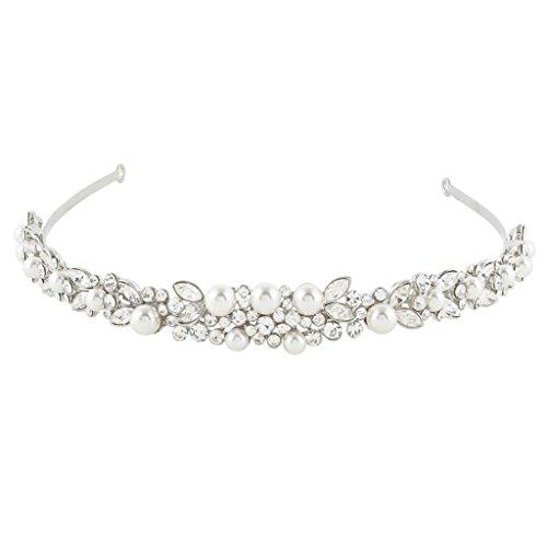 EVER FAITH Silver-Tone Austrian Crystal Ivory Color Simulated Pearl Wedding Hair Headband Clear