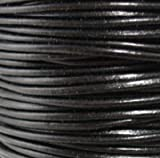 #02 Black Round Leather Cord 6mm (1/4'') x 25 m (27.25 yds)