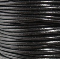 #02 Black Round Leather Cord 6mm (1/4'') x 25 m (27.25 yds)