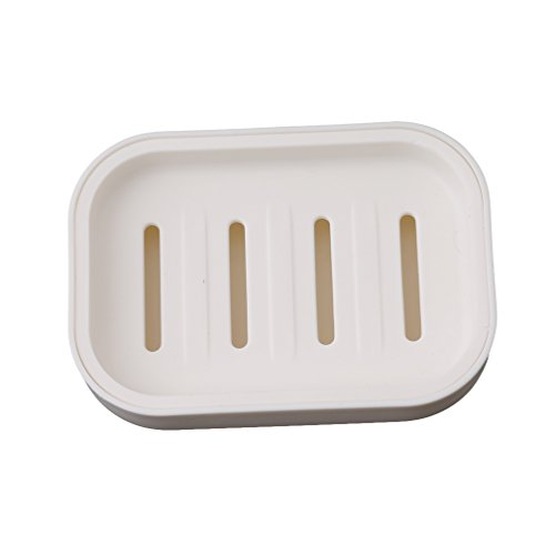 HS 1pc Plastic Soap Dish Holder Case Container with Tray Shower Soap Saver Holder