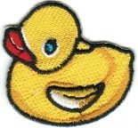 Duck - Yellow Rubber Ducky - Embroidered Sew or Iron on Patch (Silly Duck)