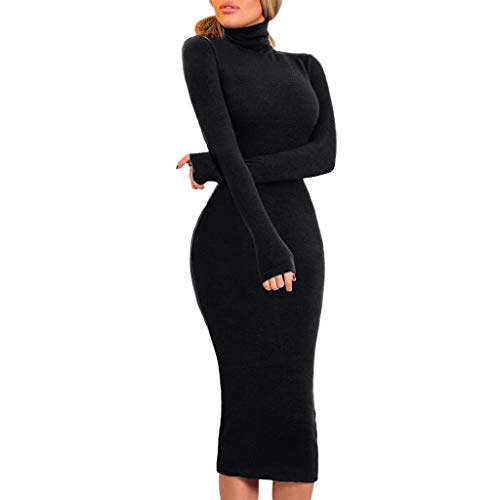 Caopixx Women's Winter Casual Bodycon Slim Fit Ribbed Turtleneck Long Sleeve Midi Sweater Dress