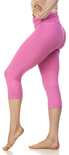 Lush Moda Women's Basic Capri Leggings with Yoga Waist- Extra Soft and Variety of Colors - Spring (Pink Soft Capris)