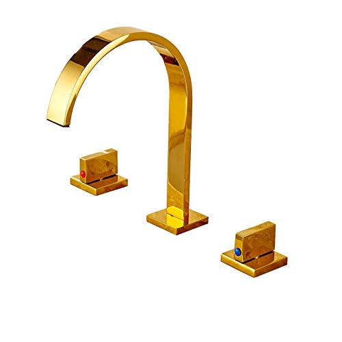 Rozin Gold Polished Widespread 3pcs Basin Faucet Dual Knobs Vessel Sink Mixer Tap