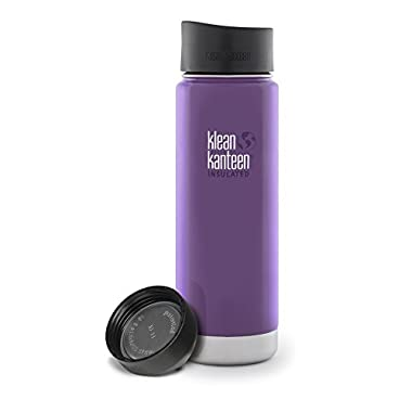 Klean Kanteen 20-Ounce Wide Insulated Stainless Steel Water Bottle with Loop Cap (Wild Grape w/ Extra Cafe Cap)