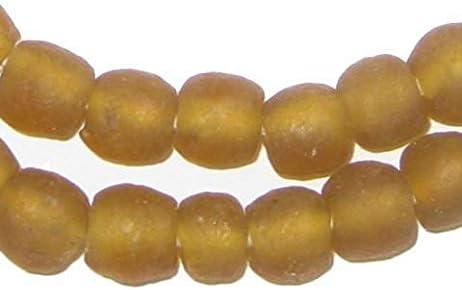 Strang Altglasperlen polierte Scheiben dunkles Orange Recycled Glass Beads Ghana